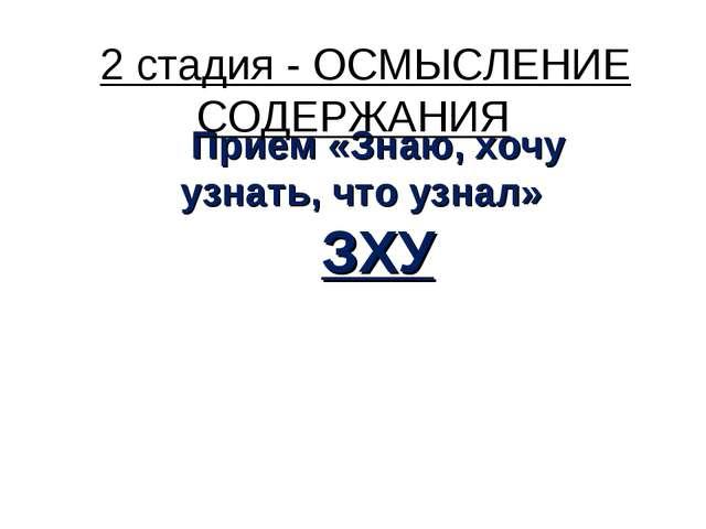 Прием «Знаю, хочу узнать, что узнал» ЗХУ 2 стадия - ОСМЫСЛЕНИЕ СОДЕРЖАНИЯ