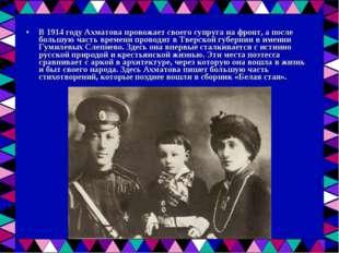 В 1914 году Ахматова провожает своего супруга на фронт, а после большую часть