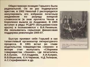 Общественная позиция Горького была радикальной. Он не раз подвергался ареста