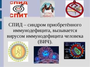 СПИД – синдром приобретённого иммунодефицита, вызывается вирусом иммунодефици