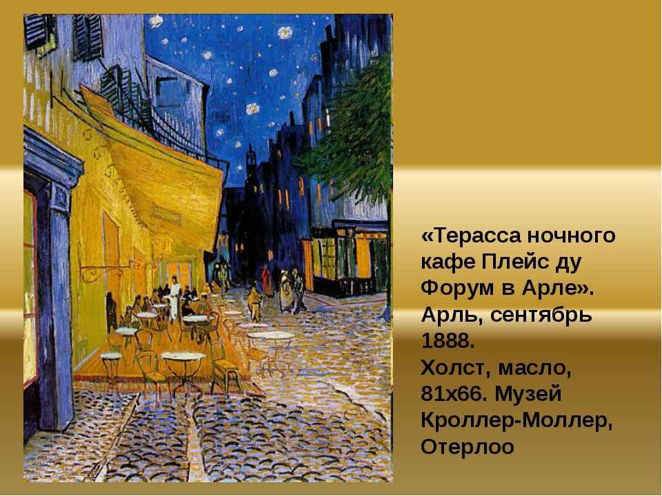 «Терасса ночного кафе Плейс ду Форум в Арле». Арль, сентябрь 1888. Холст, мас...