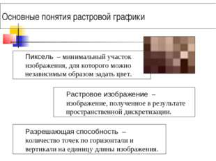 Основные понятия растровой графики Пиксель – минимальный участок изображения,