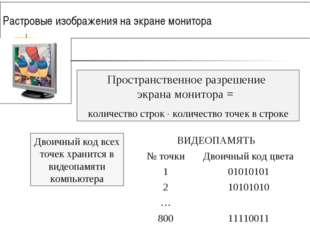 Растровые изображения на экране монитора Двоичный код всех точек хранится в в