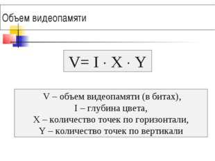 Объем видеопамяти V – объем видеопамяти (в битах), I – глубина цвета, X – кол