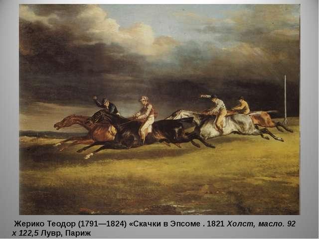 Жерико Теодор (1791—1824) «Скачки в Эпсоме . 1821 Холст, масло. 92 х 122,5 Л...