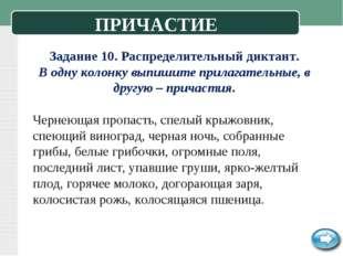 Задание 10. Распределительный диктант. В одну колонку выпишите прилагательные