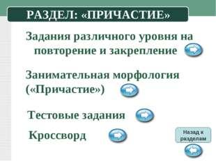 РАЗДЕЛ: «ПРИЧАСТИЕ» Задания различного уровня на повторение и закрепление Зан