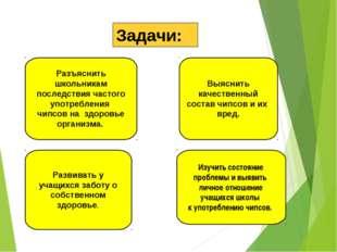 Задачи: Разъяснить школьникам последствия частого употребления чипсов на здор