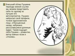 Внешний облик Пушкина периода южной ссылки мы можем представить себе по одном