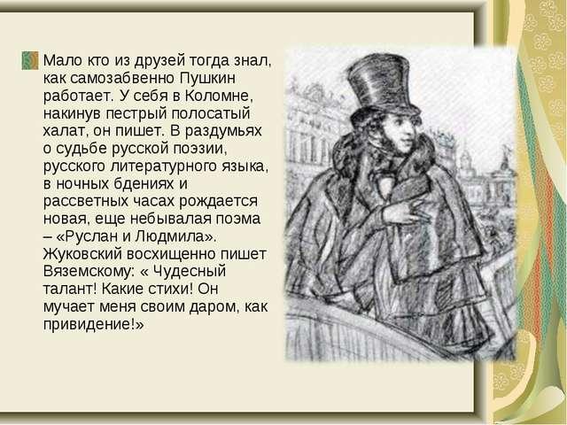 Мало кто из друзей тогда знал, как самозабвенно Пушкин работает. У себя в Ко...