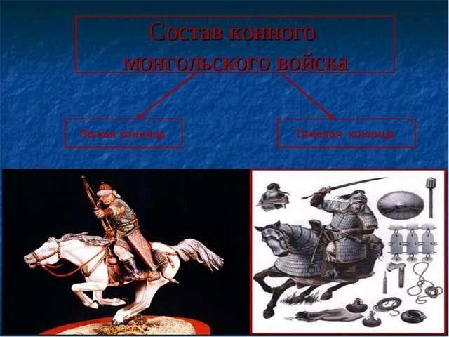 Состав конного монгольского войска Легкая конница Тяжелая конница