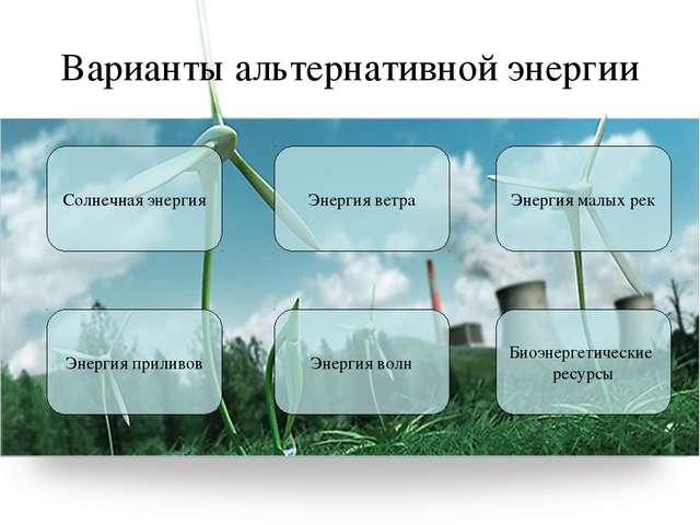 Варианты альтернативной энергии Солнечная энергия Энергия ветра Энергия малых...