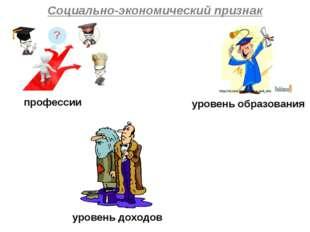 Социально-экономический признак уровень образования профессии уровень доходов