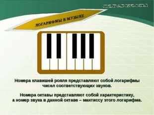 Номера клавишей рояля представляют собой логарифмы чисел соответствующих звук