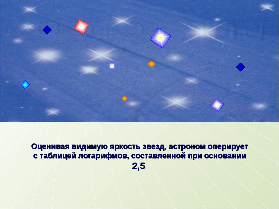 Оценивая видимую яркость звезд, астроном оперирует с таблицей логарифмов, сос...
