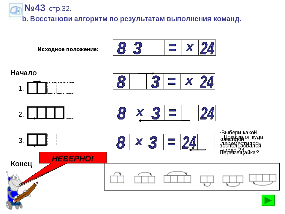 №43 стр.32. b. Восстанови алгоритм по результатам выполнения команд. Исходное...