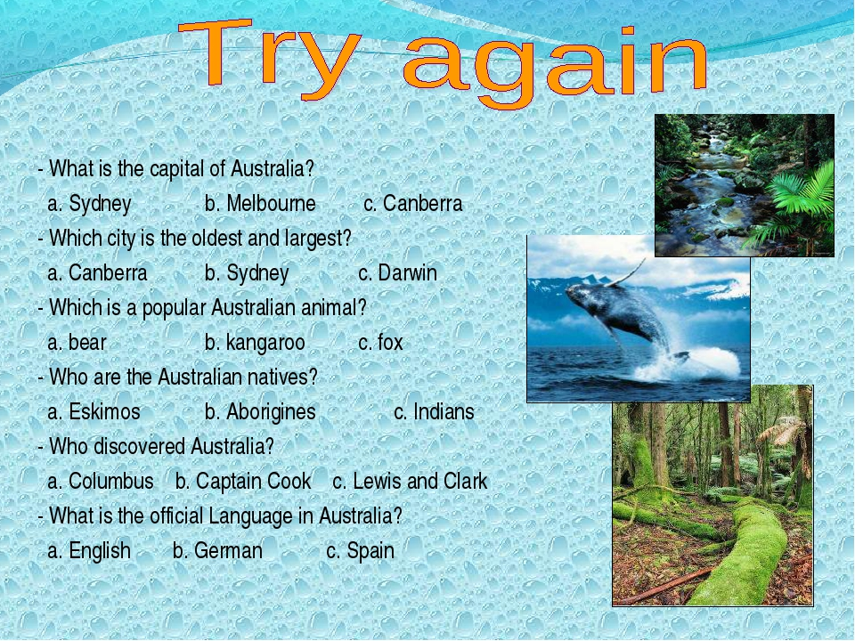 - What is the capital of Australia? a. Sydney 	b. Melbourne c. Canberra - Whi...