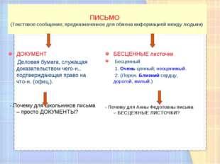 ПИСЬМО (Текстовое сообщение, предназначенное для обмена информацией между лю