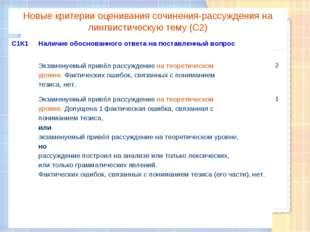 Новые критерии оценивания сочинения-рассуждения на лингвистическую тему (С2)