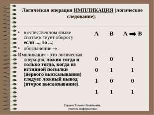 Логическая операция ИМПЛИКАЦИЯ (логическое следование): в естественном языке