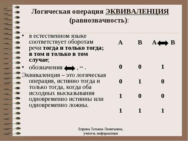 Логическая операция ЭКВИВАЛЕНЦИЯ (равнозначность): в естественном языке соотв...