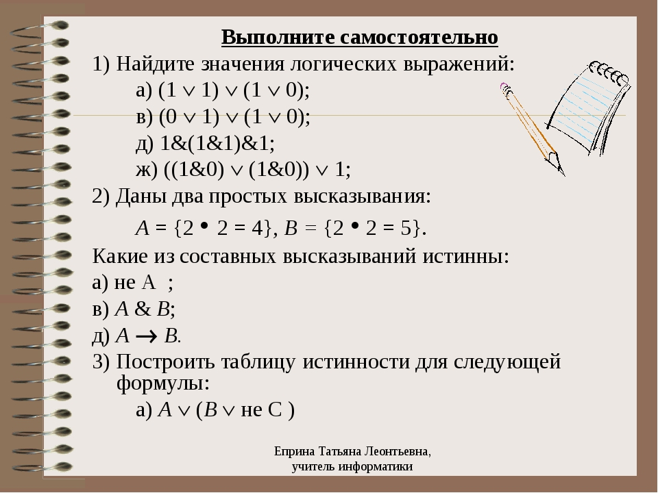 Выполните самостоятельно 1) Найдите значения логических выражений:  а)...