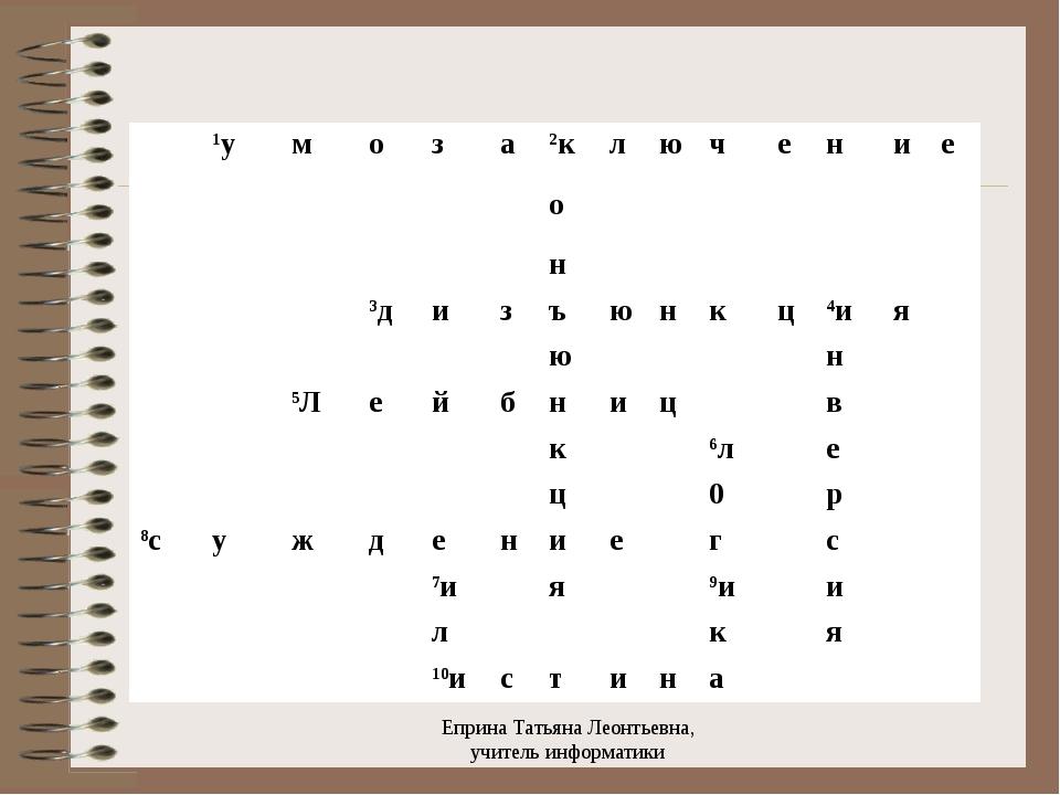 Еприна Татьяна Леонтьевна, учитель информатики 1умоза2ключение...