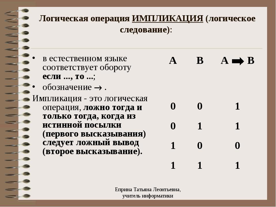 Логическая операция ИМПЛИКАЦИЯ (логическое следование): в естественном языке...