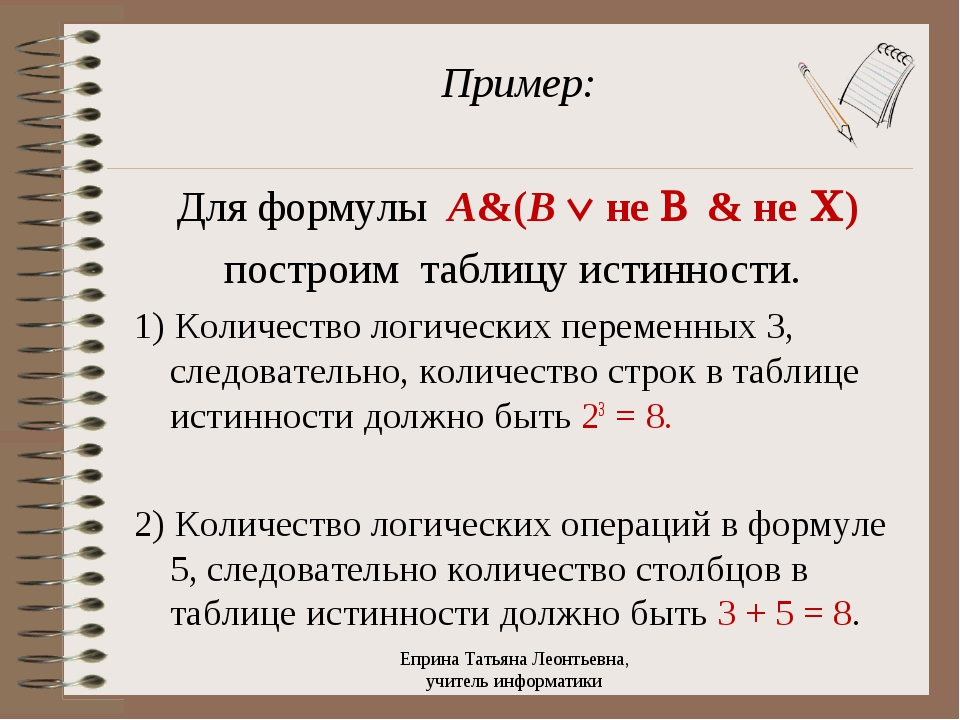Пример: Для формулы A&(B Ú не B & не C) построим таблицу истинности. 1) Колич...