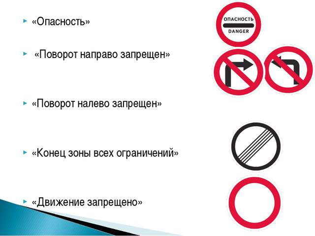 «Опасность» «Поворот направо запрещен» «Поворот налево запрещен» «Конец зоны...