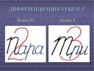 Буква П Буква Т ДИФФЕРЕНЦИАЦИЯ БУКВ П-Т