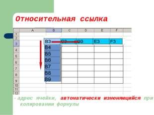 Относительная ссылка - адрес ячейки, автоматически изменяющийся при копирован