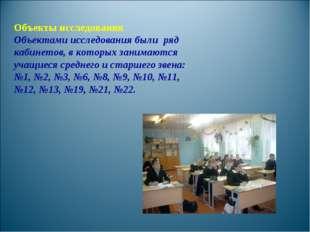 Объекты исследования Объектами исследования были ряд кабинетов, в которых зан