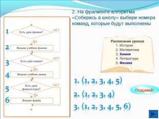 2. На фрагменте алгоритма «Соберись в школу» выбери номера команд, которые бу