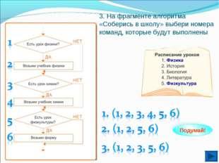 3. На фрагменте алгоритма «Соберись в школу» выбери номера команд, которые бу