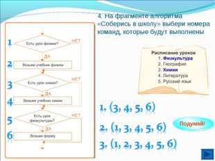 4. На фрагменте алгоритма «Соберись в школу» выбери номера команд, которые бу