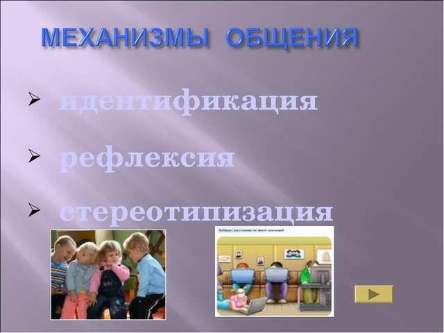 идентификация рефлексия стереотипизация