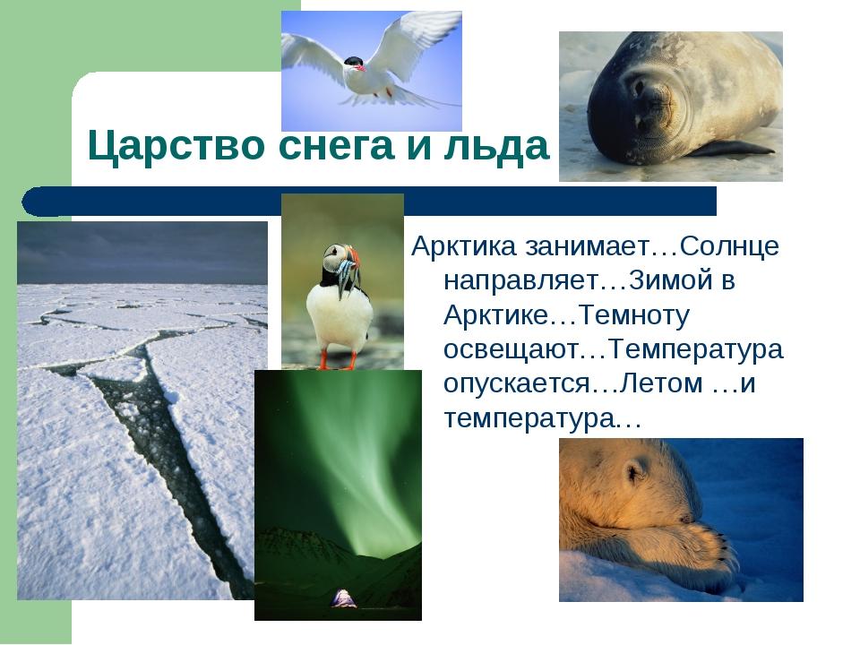 Царство снега и льда Арктика занимает…Солнце направляет…Зимой в Арктике…Темно...