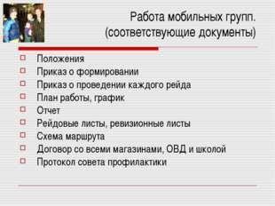 Работа мобильных групп. (соответствующие документы) Положения Приказ о формир