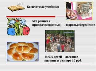 500 ранцев с принадлежностями 15 630 детей – льготное питание в размере 10 ру