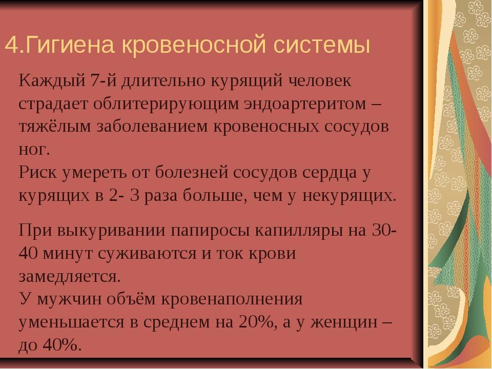 4.Гигиена кровеносной системы Каждый 7-й длительно курящий человек страдает о...