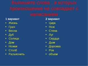 Выпишите слова , в которых произношение не совпадает с написанием 1 вариант Ж