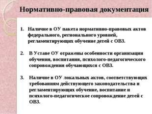 Нормативно-правовая документация 1. Наличие в ОУ пакета нормативно-правовых а
