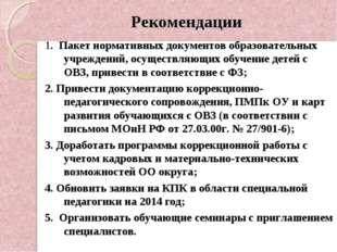 Рекомендации 1. Пакет нормативных документов образовательных учреждений, осущ