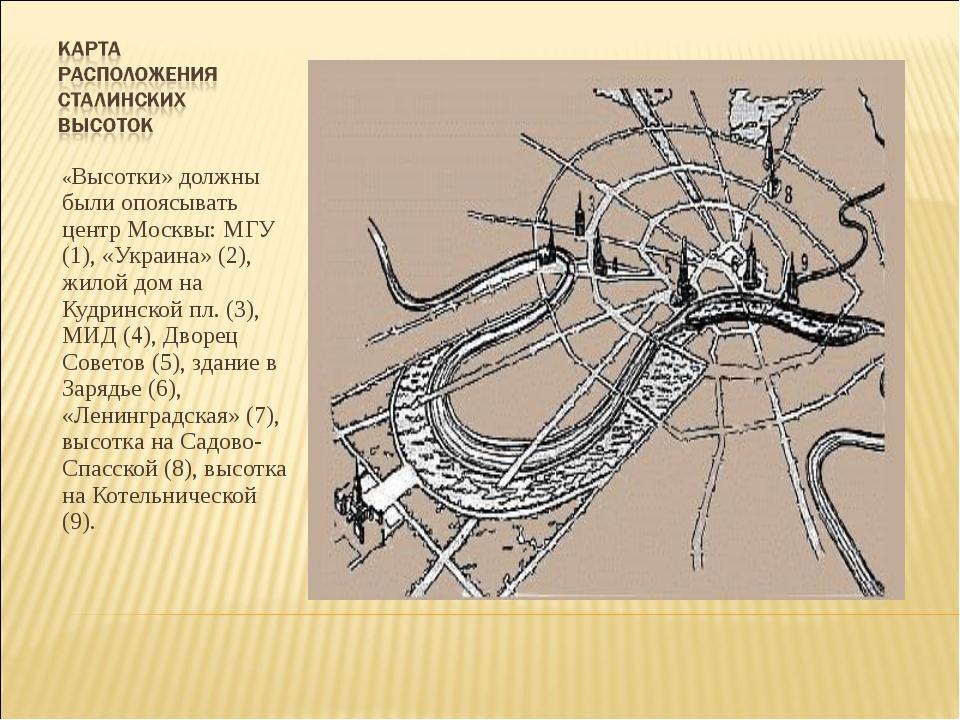 «Высотки» должны были опоясывать центр Москвы: МГУ (1), «Украина» (2), жилой...