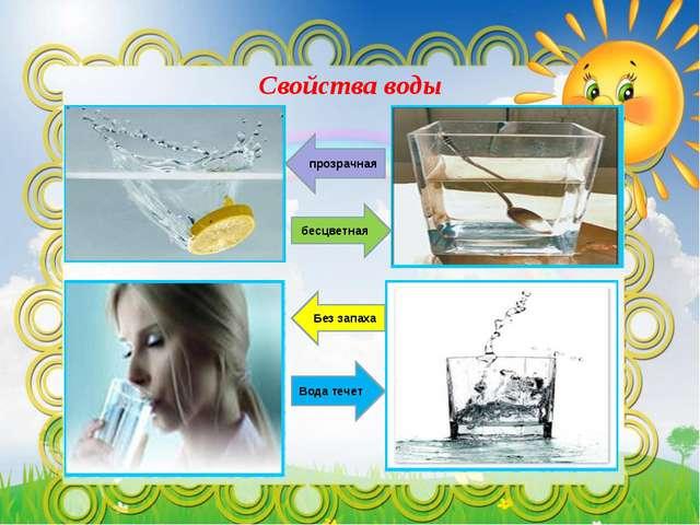 Свойства воды бесцветная Вода течет прозрачная Без запаха