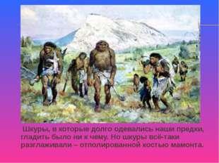 Шкуры, в которые долго одевались наши предки, гладить было ни к чему. Но шку