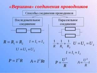 «Вершина» соединения проводников Способы соединения проводников Последователь