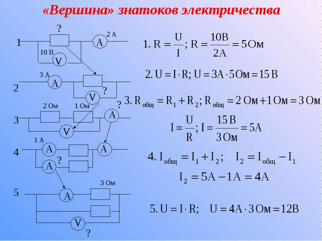 «Вершина» знатоков электричества 1 2 3 4 5