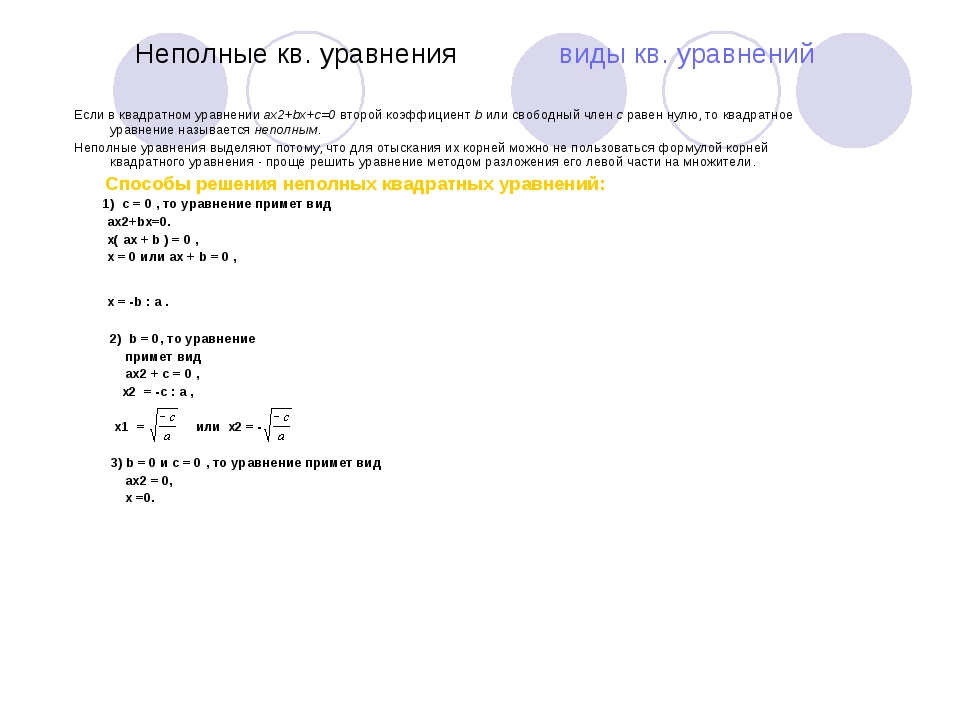 Неполные кв. уравнения виды кв. уравнений Если в квадратном уравнении ax2+bx...